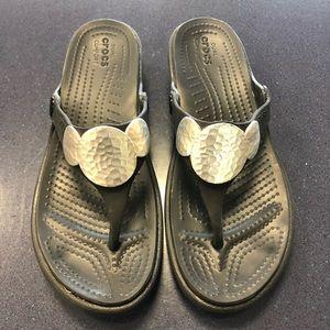 Crocs Black Sanrah silver medallion wedge sandals